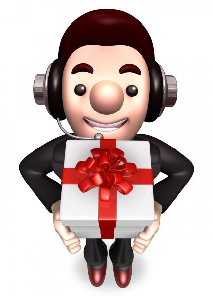 servicearbetare ger gåva